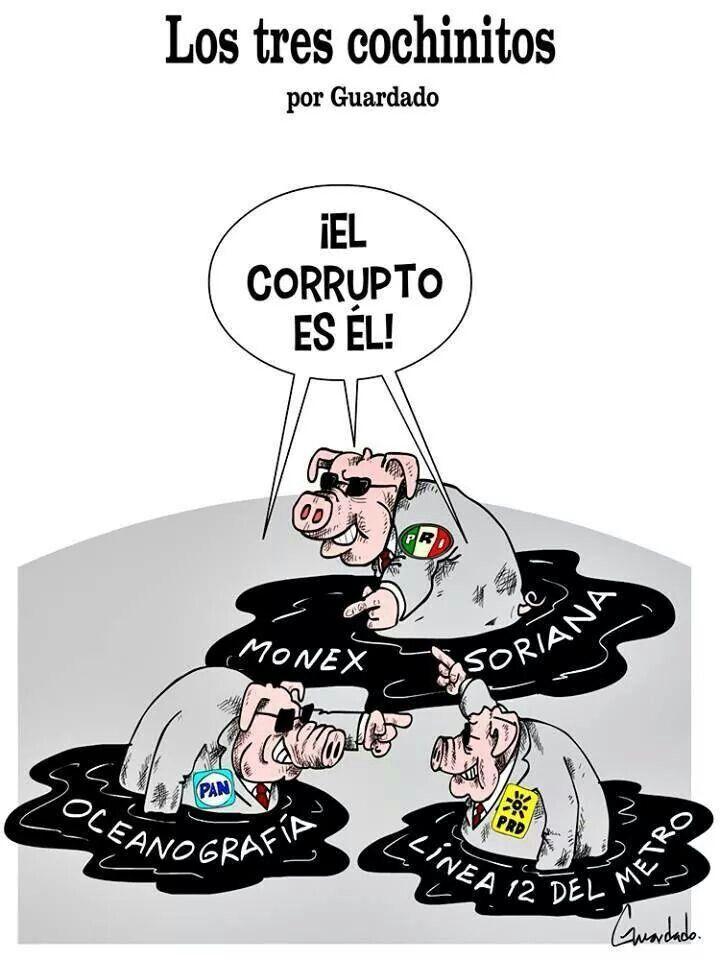 Política corrupto corrupción en México cerdos partidos PRI Monex Soriana PAN océano grafía PRD Linea 12 del metro