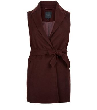 Burgundy Sleeveless Belted Coat | New Look