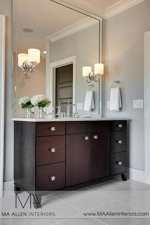 MA Allen Interiors: Stunning bathroom with espresso cabinets paired with carrara marble countertop and ...