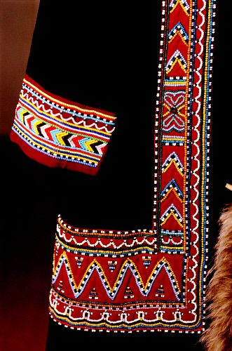 Detail of the ornate beadwork on a traditional Dolgan woman's coat. Taymyr, Northern Siberia, Russia