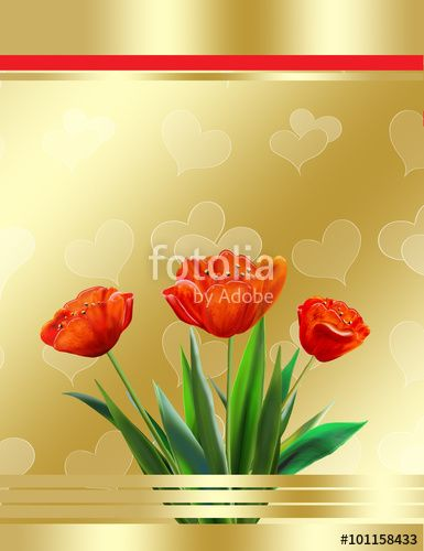 Greeting card with red tulips on gold abstract background with heart pattern. Digital Illustration