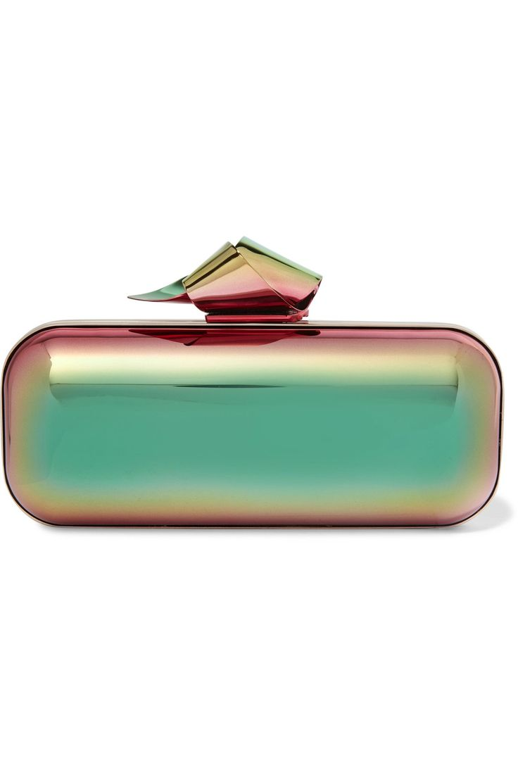 JIMMY CHOO Cloud Tube holographic metal clutch