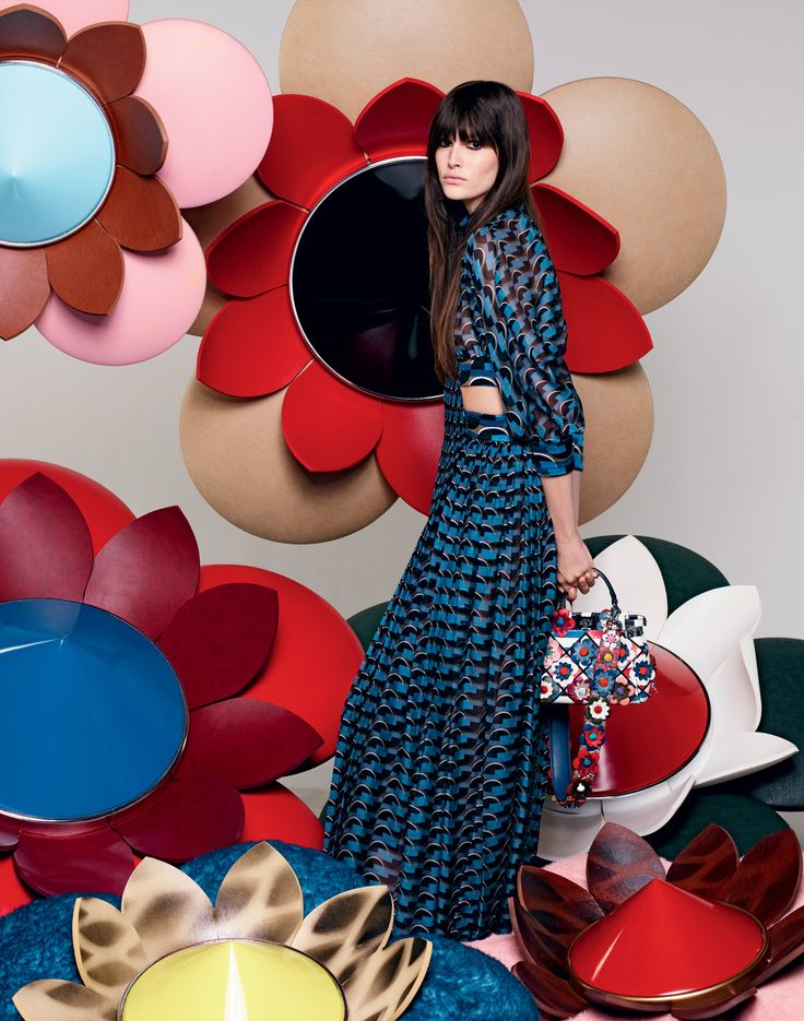 The Fendi S/S16 collection set in an explosion of flowers for the new advertising campaign starring Vanessa Moody and shot by Creative Director Karl Lagerfeld.