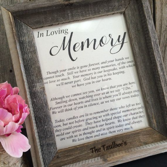 In Loving Memory Of Wedding Sign Candle Poem