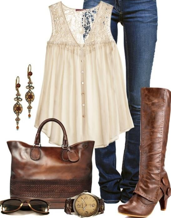 Carolina Brown Heeled Boots; love the bag, watch and boots