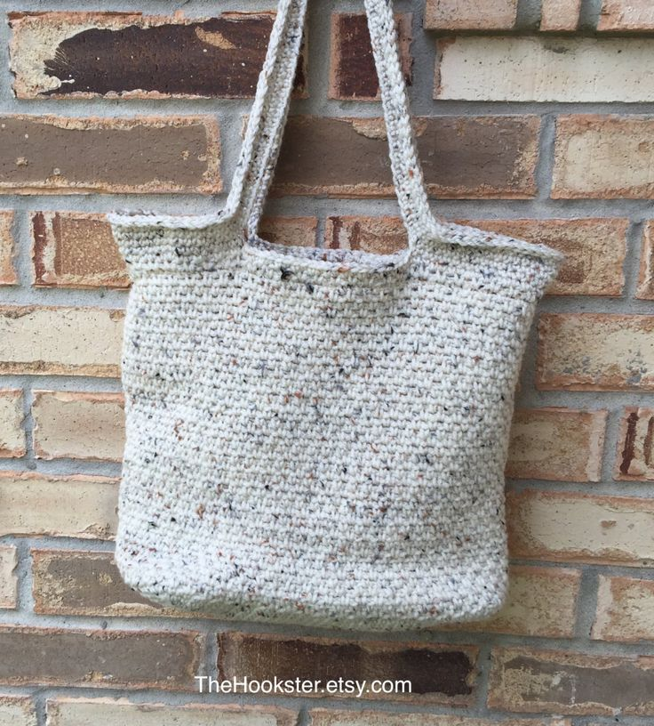 """Made to Order - Large Crocheted Tote, Fully Lined in Coordinating Fabric, College Book Bag, Shopper, Shoulder Bag, 13"""" x 12"""" x 5.5"""", Options by TheHookster on Etsy"""