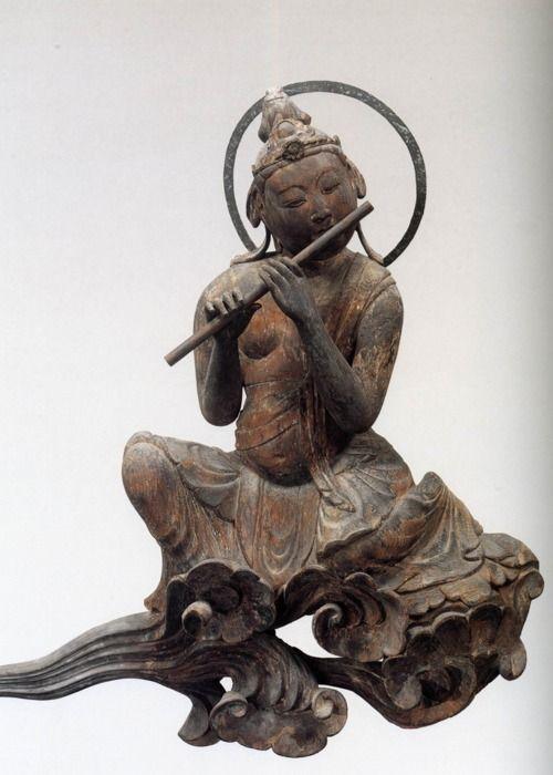 Bodhisattva - Blowing flute. ca 1053. Byodoin Temple - Kyoto, Japan.