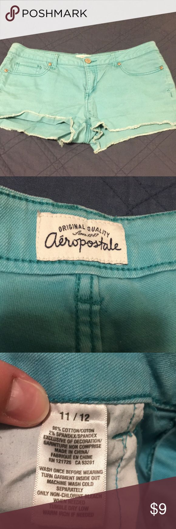 Aeropostale aqua jean shorts 11/12 GUC Comes from dog friendly smoke free home. No holes or rips other than the ripped look of the bottom. Aeropostale Shorts Jean Shorts