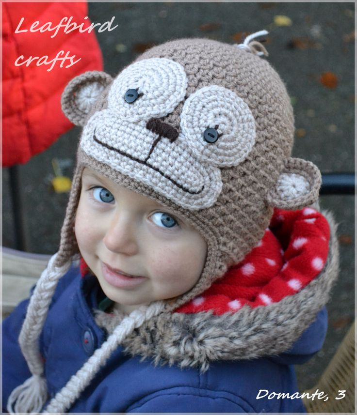Handmade Crochet Monkey hat, Boys hat, Girls hat, Character Hat, Animal hat, Monkey hat by Leafbirdcrafts on Etsy https://www.etsy.com/listing/215164847/handmade-crochet-monkey-hat-boys-hat