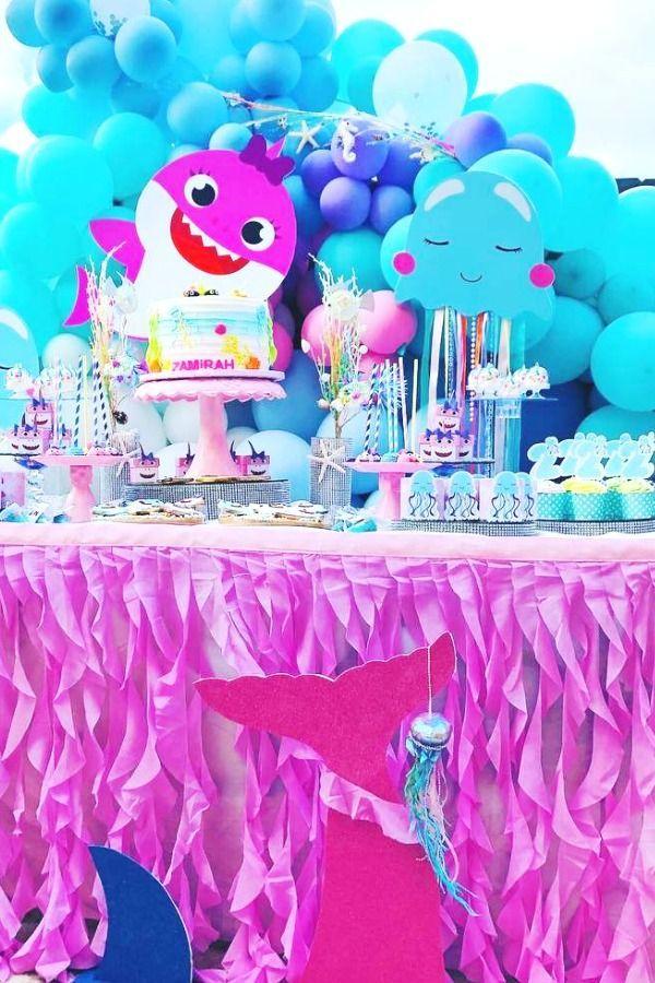 Little Girls Baby Shark Birthday Party In 2020 Girls Birthday Party Themes Birthday Parties Birthday