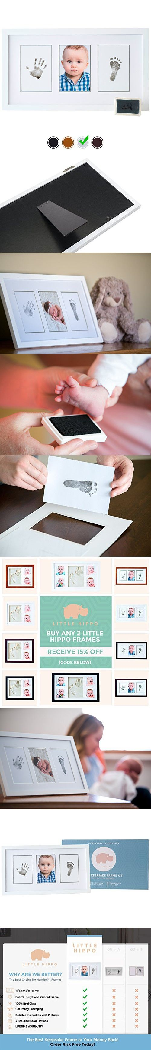 Baby Handprint Kit by Little Hippo - DELUXE EDITION! Newborn Baby Picture Frame (WHITE) & Non Toxic INK! Baby Footprint kit, best baby shower gifts! Perfect for Baby Boy gifts, and Baby Girls Gifts!