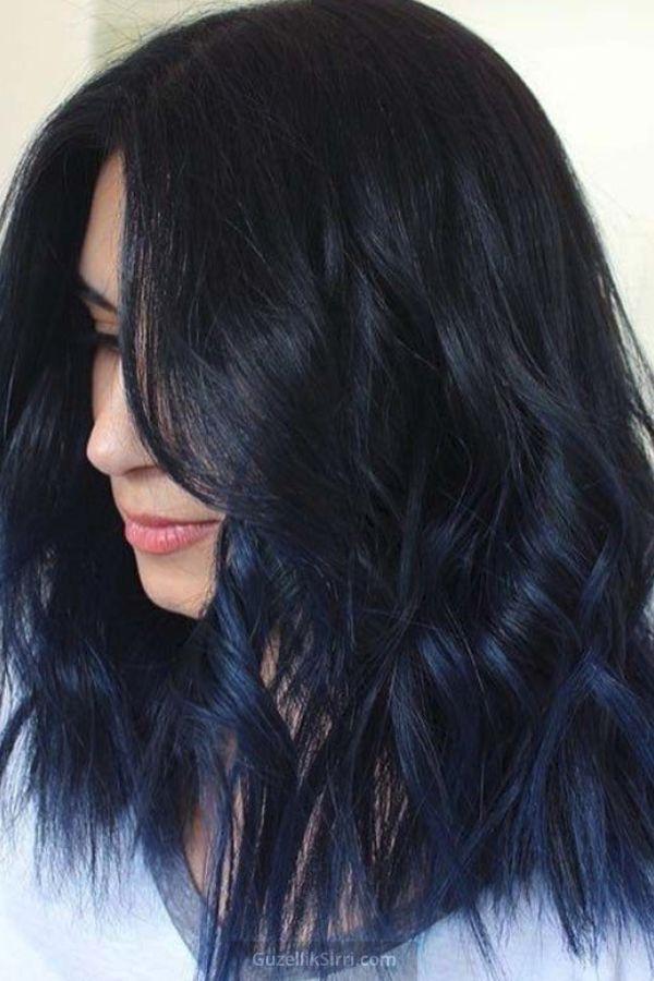 Gece Mavisi Sac Rengi 2020 Siyah Renkli Sac Mavi Sac Modelleri