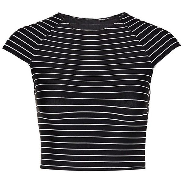 Vitamin A 'Estella' cropped stripe rash guard (2,580 MXN) ❤ liked on Polyvore featuring swimwear, tops, t-shirts, black, vitamin a swimwear, sports swimwear, rashguard swimwear, sport swimwear and rash guard swimwear
