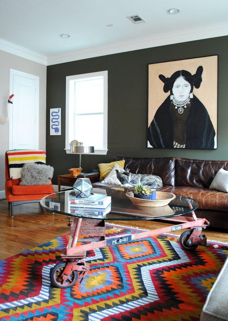 "Eclectic Living Room (Wall color is Benjamin Moore's ""Artichoke"") – Mark's Comfortable Contemporary #livingroom"