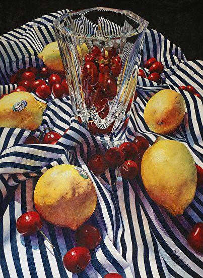 Chris Krupinski | WATERCOLOR | Lemons, Cherries, and Stripes