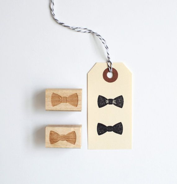 NEW Cute Bow Tie Stamp Wood Mounted Small by HunterandCoDesigns