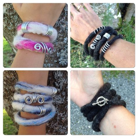 Felted bracelets, wire decorations