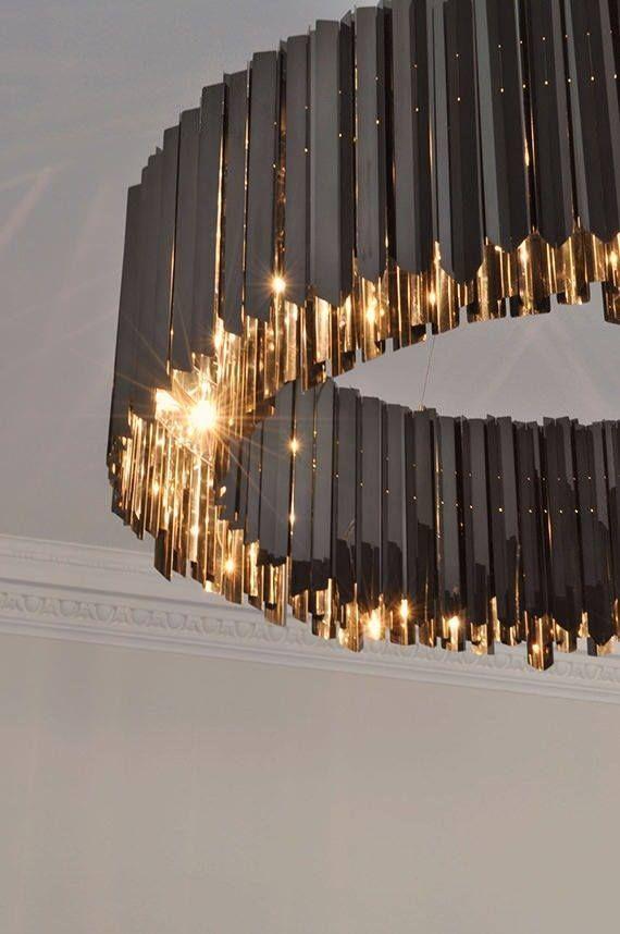 Nice Golden Light Facet Chandelier Black Nickel Contemporary Lighting Project By Tom Kirk