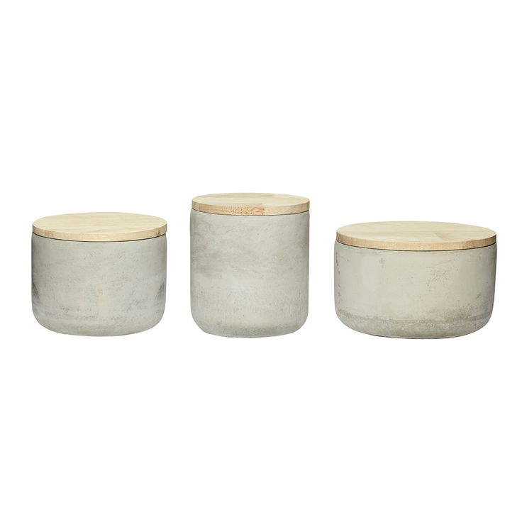 Concrete jar with wood lid. In a set of 3. Product number: 640217 - Designed by Hübsch