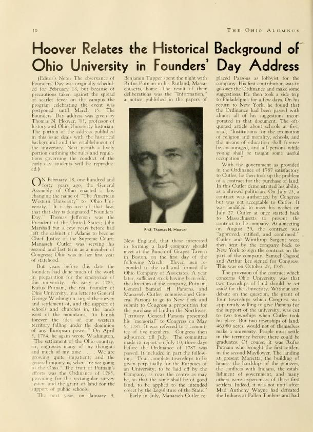 "The Ohio Alumnus, March 1944. ""Hoover Relates the Historical Background of Ohio University in Founders' Day Address."" Thomas N. Hoover, Ohio University history professor and namesake of Hoover House, shared history of the university at Founders' Day. Hoover also authored the History of Ohio University in 1954, publ. by OU Press. http://media.library.ohiou.edu/cdm/ref/collection/archives/id/1638:: Ohio University Archives"