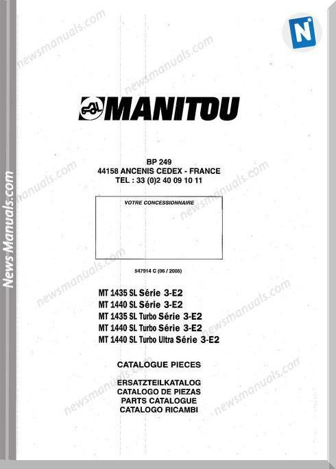 Manitou Mt 1435 1440sl Series 1435 1440sl Parts Manual