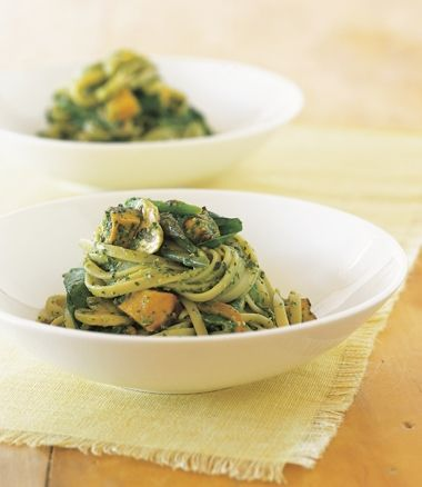 This Linguine with roasted pumpkin and avocado pesto is a great revamp - just roast extra pumpkin and this beautiful meal will be ready in the time it takes you to cook pasta and panfry some mushrooms!  SO EASY! (via MiNDFOOD)