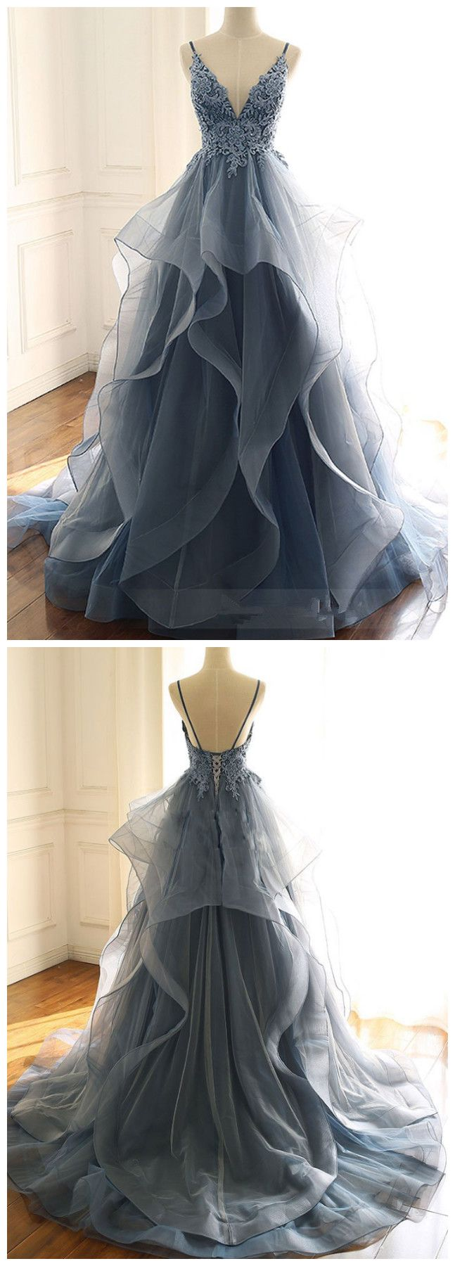 Tulle lace long prom dress, blue evening dress