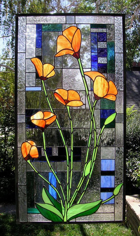 California Poppies With Geometric--19 x 37--Stained Glass window Panel This is an unusual design juxtiposing California Poppies over the
