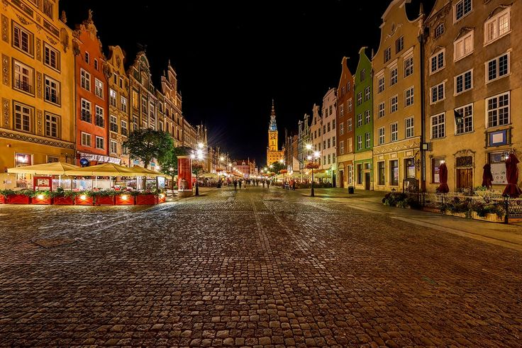 Dluga street, Gdansk - Gdansk,Poland-September 2016:The tower of Town Hall and main pedestrian street on the old city center of Gdansk, Poland, in the late evening