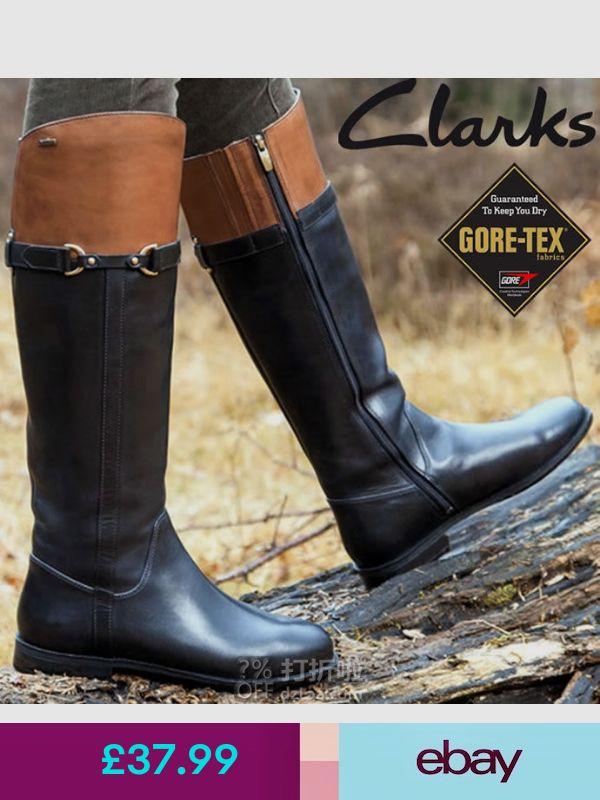 Clarks Ladies Mint Aqua GTX Black Leather Knee High Gore Tex