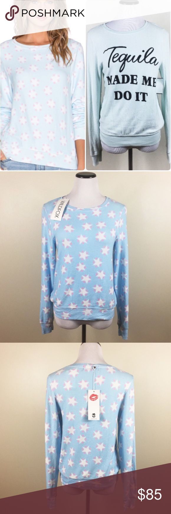 🔥FIRM🔥2 WILDFOX NWT SWEATERS BUNDLE 🔥FIRM🔥 2 WILDFOX NWT SWEATERS in size XS. Brand new with tags, stars sweater with wildfox logo tags, tequila made me do it sweater with store tag. Brand new, never worn, buttery soft! Colors true to zoom pics. 100% authentic. The price is firm, no offers please ❌🚫 Wildfox Sweaters