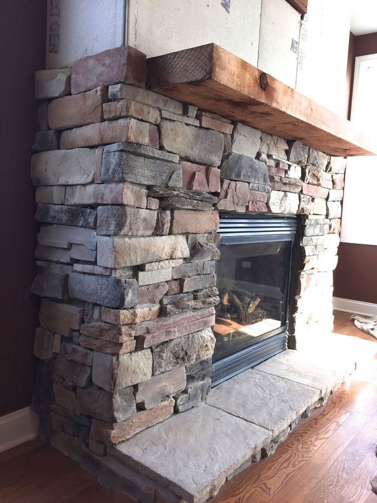 Natural gas fireplace and Stone fireplace makeover