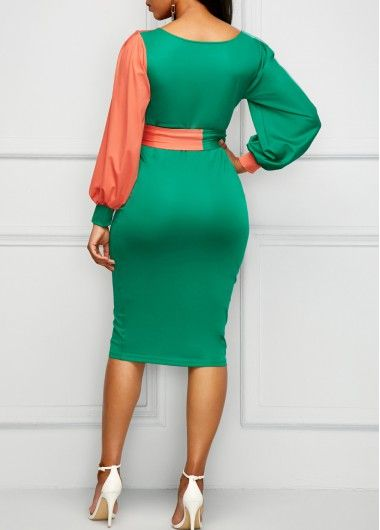 e8dd5e4b0e5 Belted Color Block Lantern Sleeve Sheath Dress