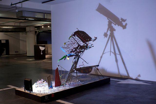 Скульптура,телескоп,иллюзия,теневая скульптура,эксперимент