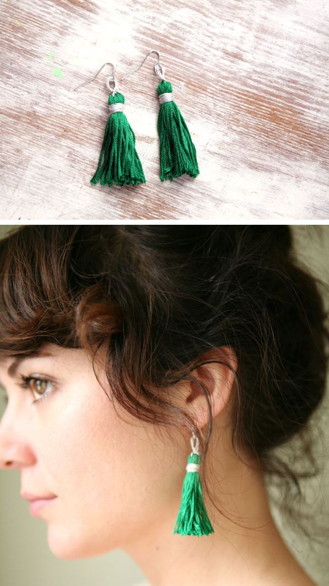 How to Make An Emerald Tassel Necklace and Earrings | http://hellonatural.co/how-to-make-a-tassel-necklace-and-earrings/