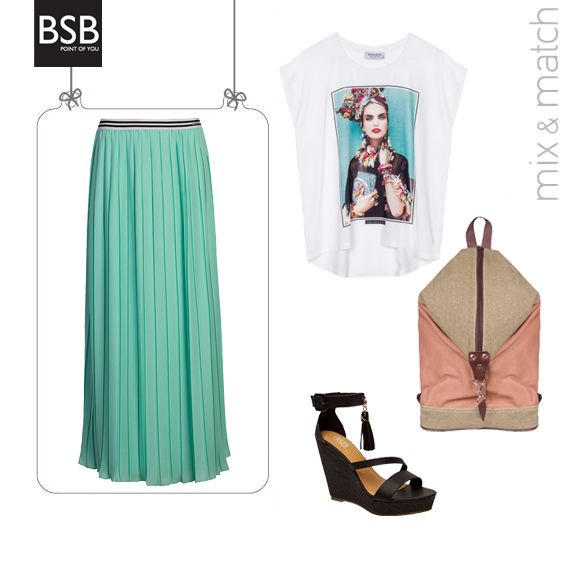 Focus on a #maxi chiffon skirt, add some #casual items and u can call yourself the queen of the #casual_chic look! #BSB_SS14 #collection