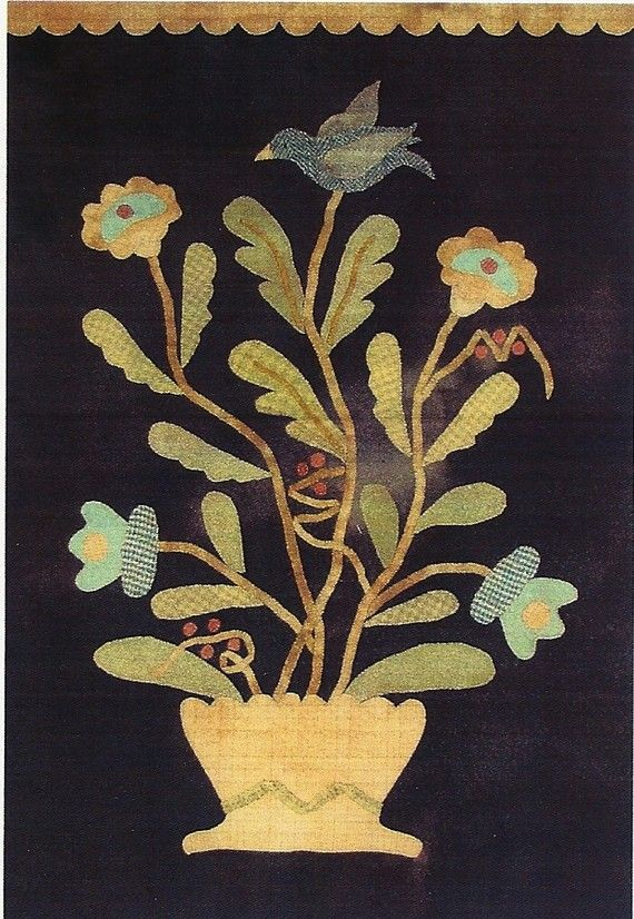 Primitive Applique Patterns Free | Primitive Folk Art Wool Applique Pattern FLOWERS IN BLOOM