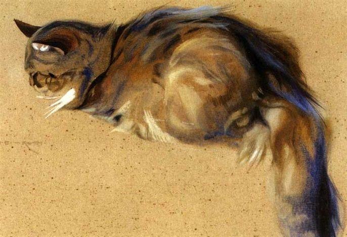 Norbertine von Bresslern-Roth, Cat, n.d. Drawing. Austria.