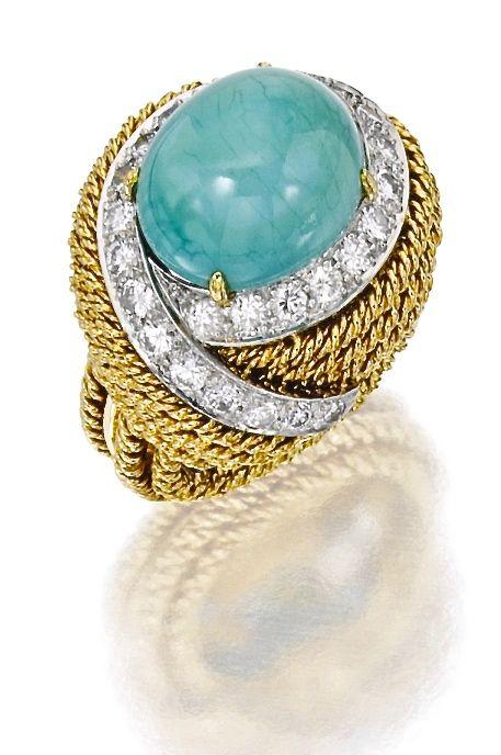 David Webb Bague Or, Platine,Turquoise,Diamants