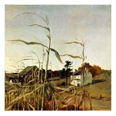 """オールポスターズの アンドリュー・ワイエス「""""Autumn Cornfield,""""October 1, 1950」ジクレープリント"""