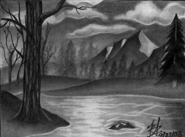 drawings of landscapes | landscape drawing pencil ...