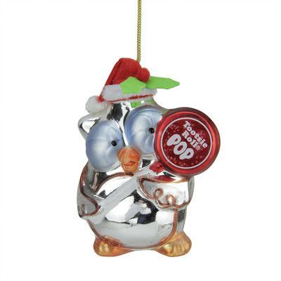 "Northlight Candy Lane Tootsie Roll Pop Orignal Filled Lollipop ""Mr. Owl"" Glass Christmas Ornament"