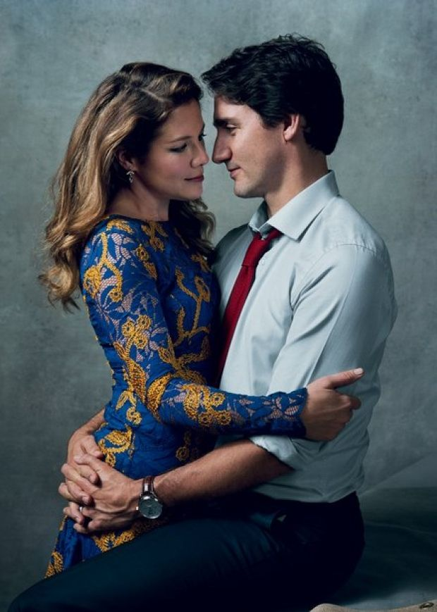 A photo of Canadian Prime Minister Justin Trudeau and his wife Sophie Gregoire Trudeau featured in the January issue of Vogue.  Norman Jean Roy for VOGUE