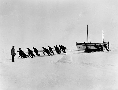 The Shackleton expedition's ship The Endurance breaks apart after months trapped in the Antarctic ice. Shackleton and his men now must camp on the ice floe, careful that the ice does not crack and the killer whales do not rise to the surface and tip them into the freezing waters.