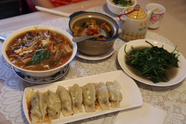 A veggie dinner in Xin Beitou. Fried dumplings, greens, tofu, hot and sour soup and brown rice