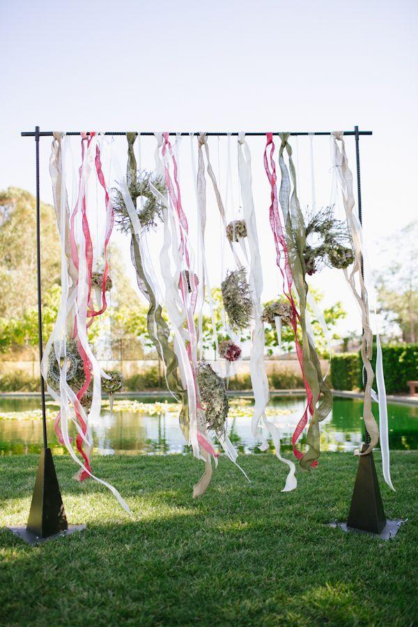 streamer backdrop wedding ceremony