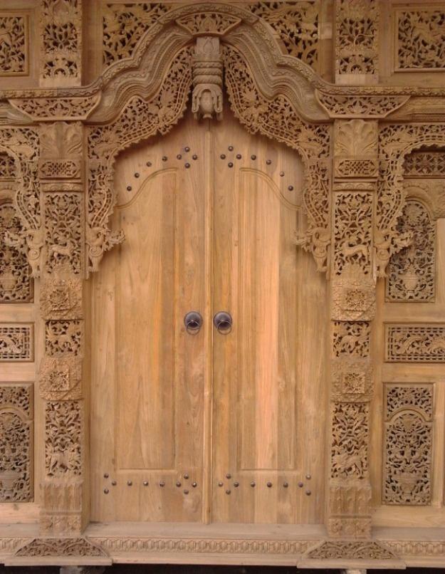 Javanese carved wooden door;