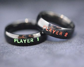 Player 1 & Player 2 Ring Set by fromtheinternet on Etsy