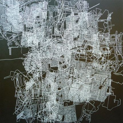 These wonderfully intricate geographical paintings are the work of Brisbane artist Sue Beyer. Sue is fascinated by architecture, mapping, urban design, philosophy and popular culture – and you can see each of these exploding through in her work.    Sue refers to town planning maps to be guided by and to interpret the restrictions of the natural topography, boundaries and spaces.