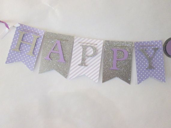 Purple and glitter silver Happy birthday by Cresscreativecrafts